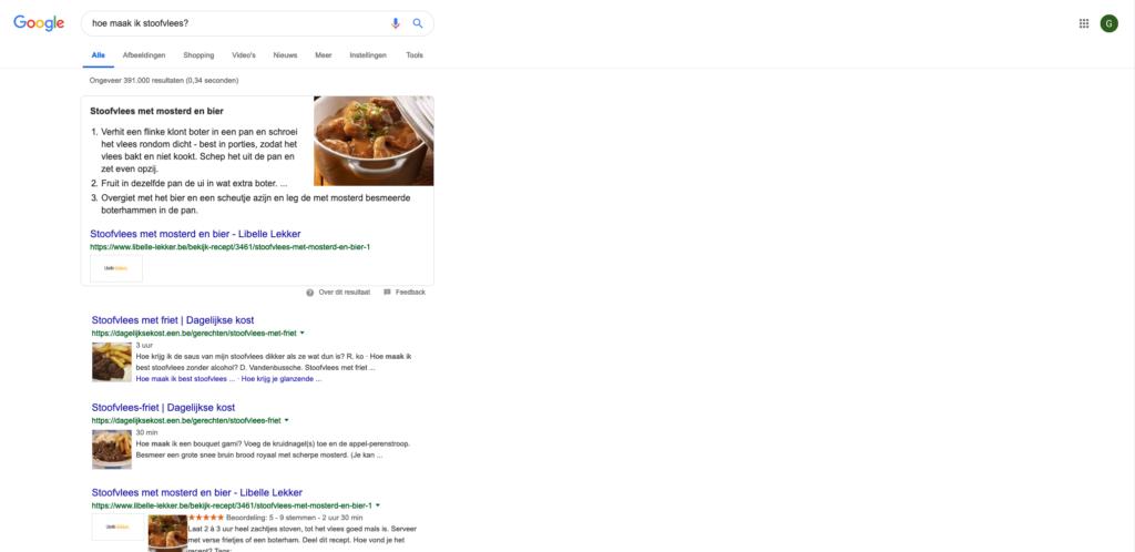 Voorbeeld van een lijst in de 'Google Answering Box'