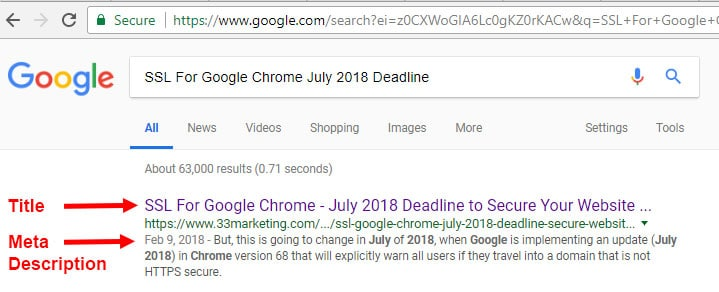 SEO Tips De meta tag is niet zichtbaar voor gebruikers, maar wordt in de pagina met zoekresultaten wel weergegeven onder de titel.